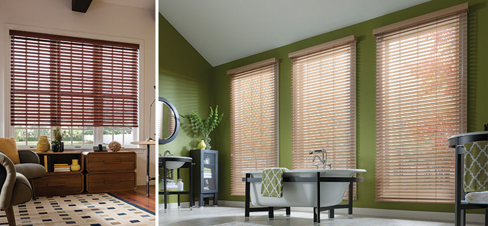 Graber floor to ceiling Faux painted Wood Blinds mahogany bathroom