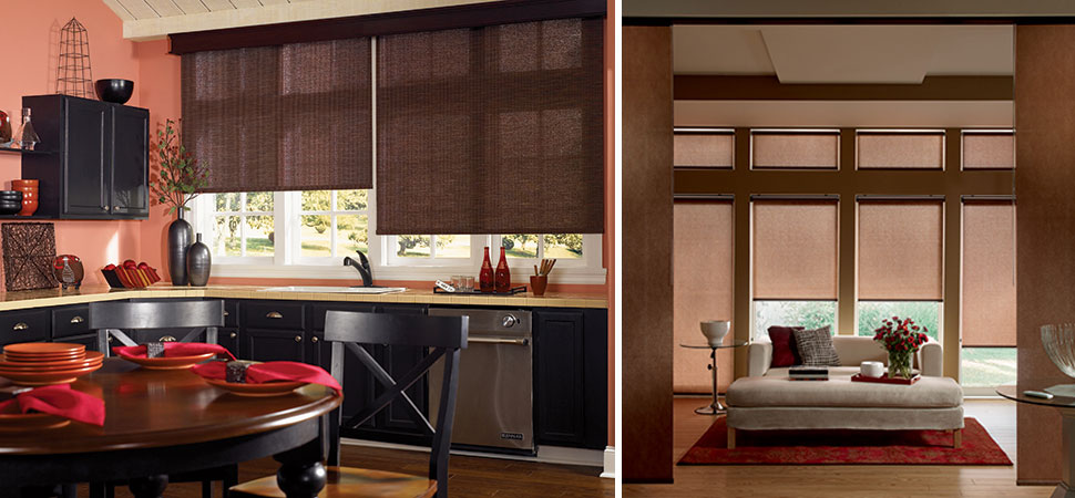 custom roller blinds - blackout roller shades Graber brown woven roller blind kitchen beign
