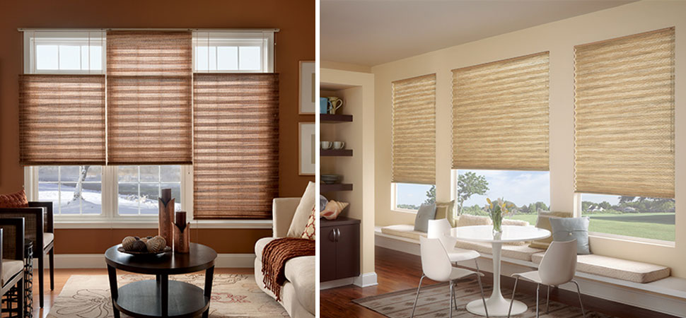 custom pleated fabric shade Graber pleated shade pale yellow shades grasscloth shade natural shade brown shade living room