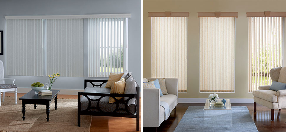 Graber Vertical Blinds Denver Fabric White Vinyl Living Room
