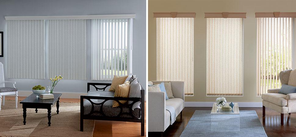 Graber vertical blinds denver fabric white vinyl living for Living room vertical blinds