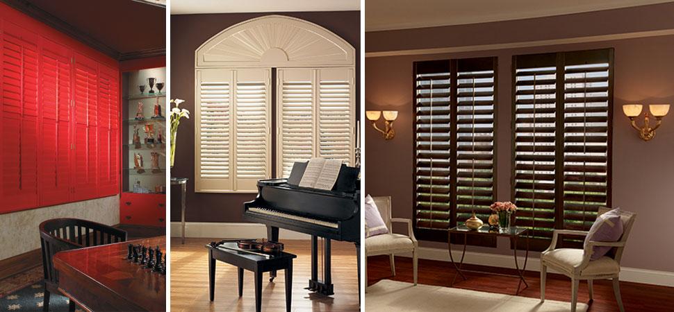 wood shutters - plantation shutter Graber Wood Shutters Specialty Shape White Shutters Brown Shutters Red Shutters