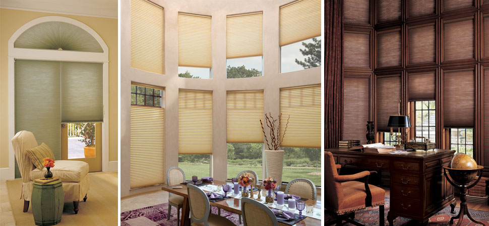 cellular shade honeycomb shade Duette Hunter Douglas green Honeycomb shades top down bottom up Cellular Shades dining room Motorized Shades Blackout shades