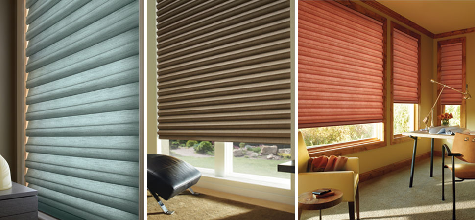 soft shades fabric Hunter Douglas Soft pleated shades red shade brown shade blue shade blackout shade room darkening shade insulated shade