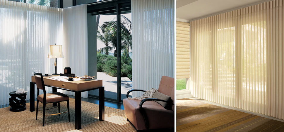 Custom Hunter Douglas Vertical Blinds Luminette Large Windows Cream Sheer Fabric
