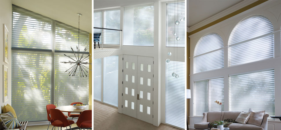 custom window shades - window shadings Hunterdouglas Nantucket, Door, Sidelight shaed white floor to ceiling shades specialty window shapes shades