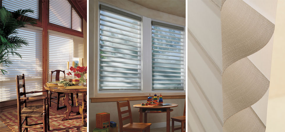 custom window shades window shadings Blue fabric Shade, Hunter Douglas Silhouette specialty Window Shades light filtering Silhouette
