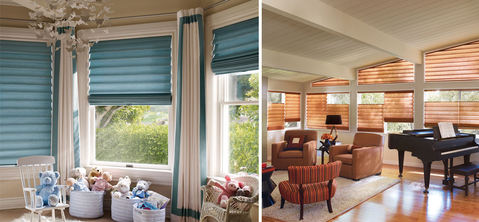 hunter douglas vignette roman shadetop down bottom up Blue Shades orange blinds Roman Shade Hunter Douglas nursery Baby's room