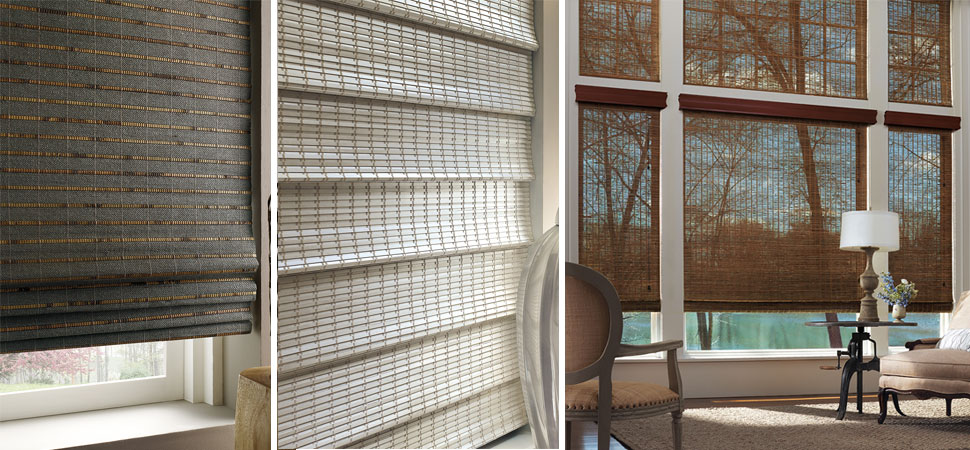 custom woven wood shades wood blinds Hunter Douglas Provenance light filtering Modern Bedroom Natural fiber Openness Hunter Douglas white Woven Woods