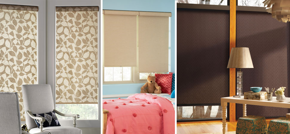 custom roller blinds - blackout roller shades Hunter Douglas brown roller shade foral patterned blackout roller shade beige roller shade bedroom de