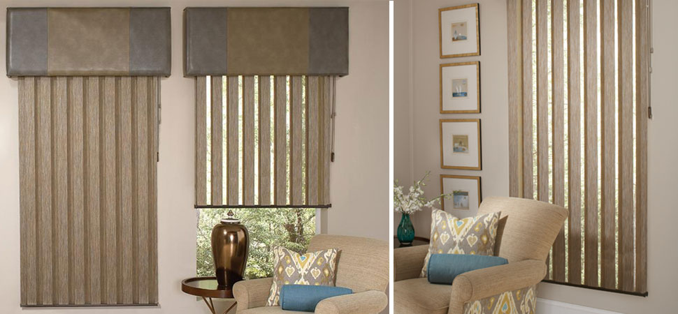 custom vertical blinds Allure Visionaire Vertical Blinds with valance brown room darkening