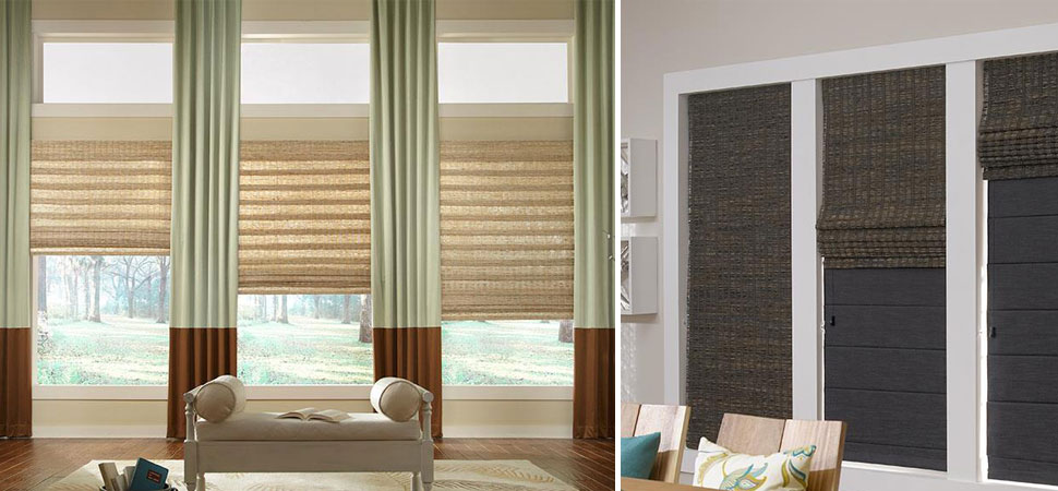 custom woven wood shades woven wooden blinds Duo Shade, Natural, Organic, Bamboo, Hand Woven, color blocked window panels blackout woven shades