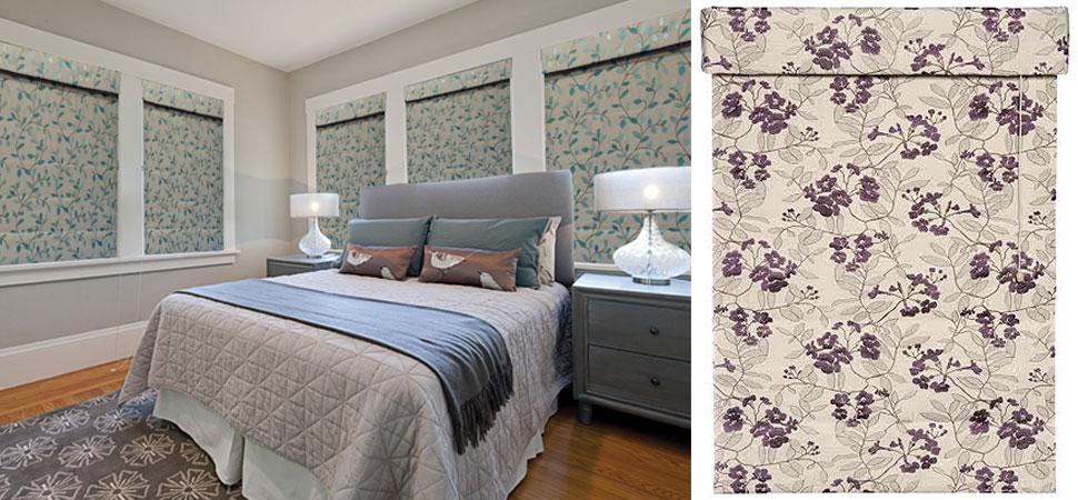 custom roman shade volari portrait bedroom Flat blue floral Roman Shade Custom purple roman Shade valnce