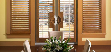 dining room ideas window coverings curtains wood shutters